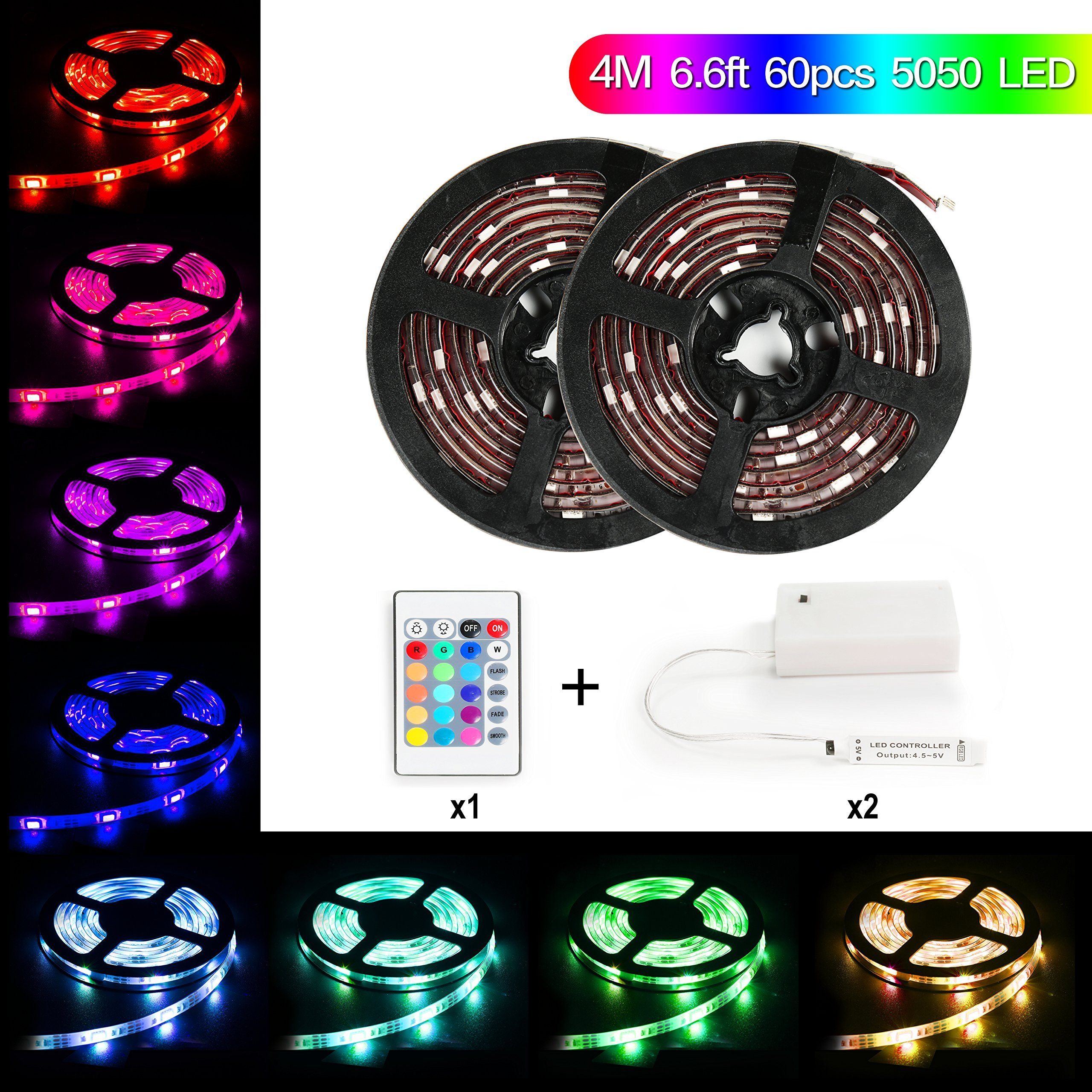 Led Light Strips Battery Powered Amusing Led Light Strip Battery Powered,meilly 2Reels  Rgb 4M  133Ft Inspiration Design