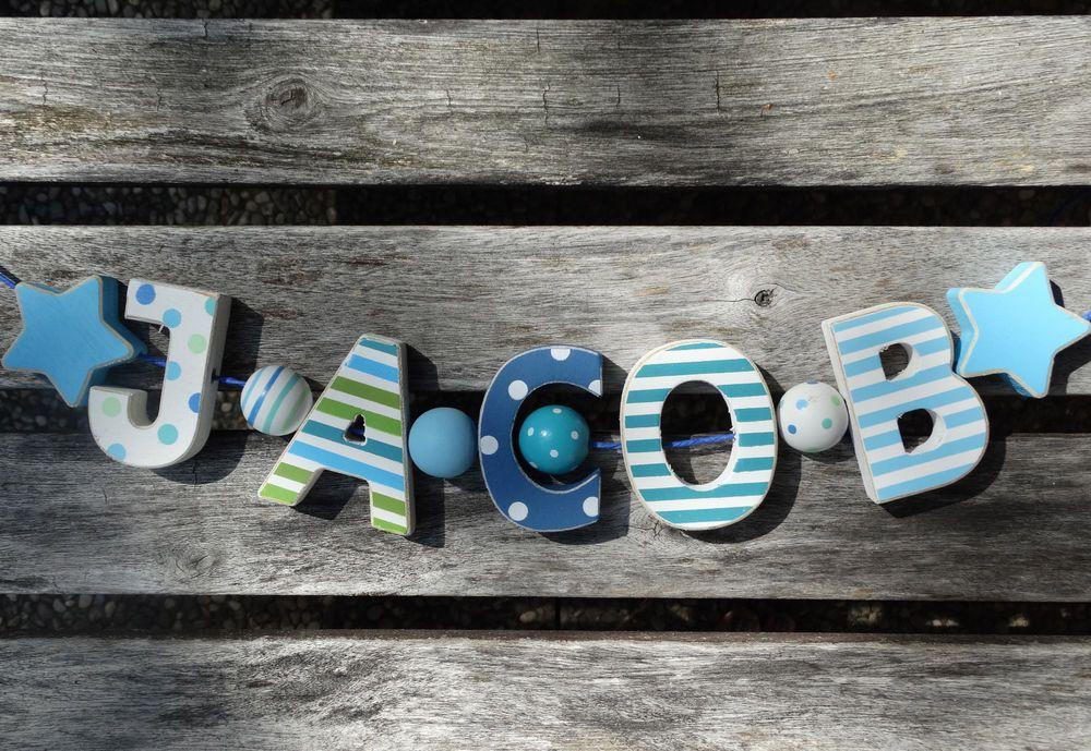 Decoration JACOB 13cm Large Letters 5 Bright White Wooden Letters JACOB