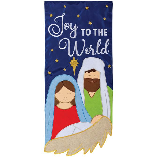 Joy To The World Double Applique Garden Flagour Double Applique Flags Are Leading The Industry With Detailed Embroidery Durable Joy To The World Joy Banner