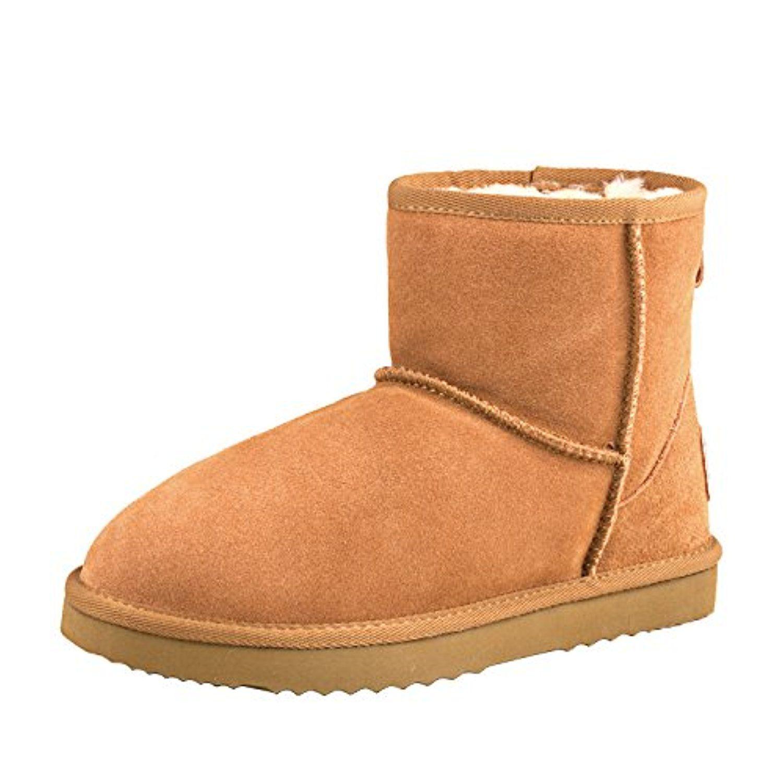 Shenduo Bottes Hiver Femme Cuir Boots Classiques Courtes Doublure Chaude DA5854 Daim