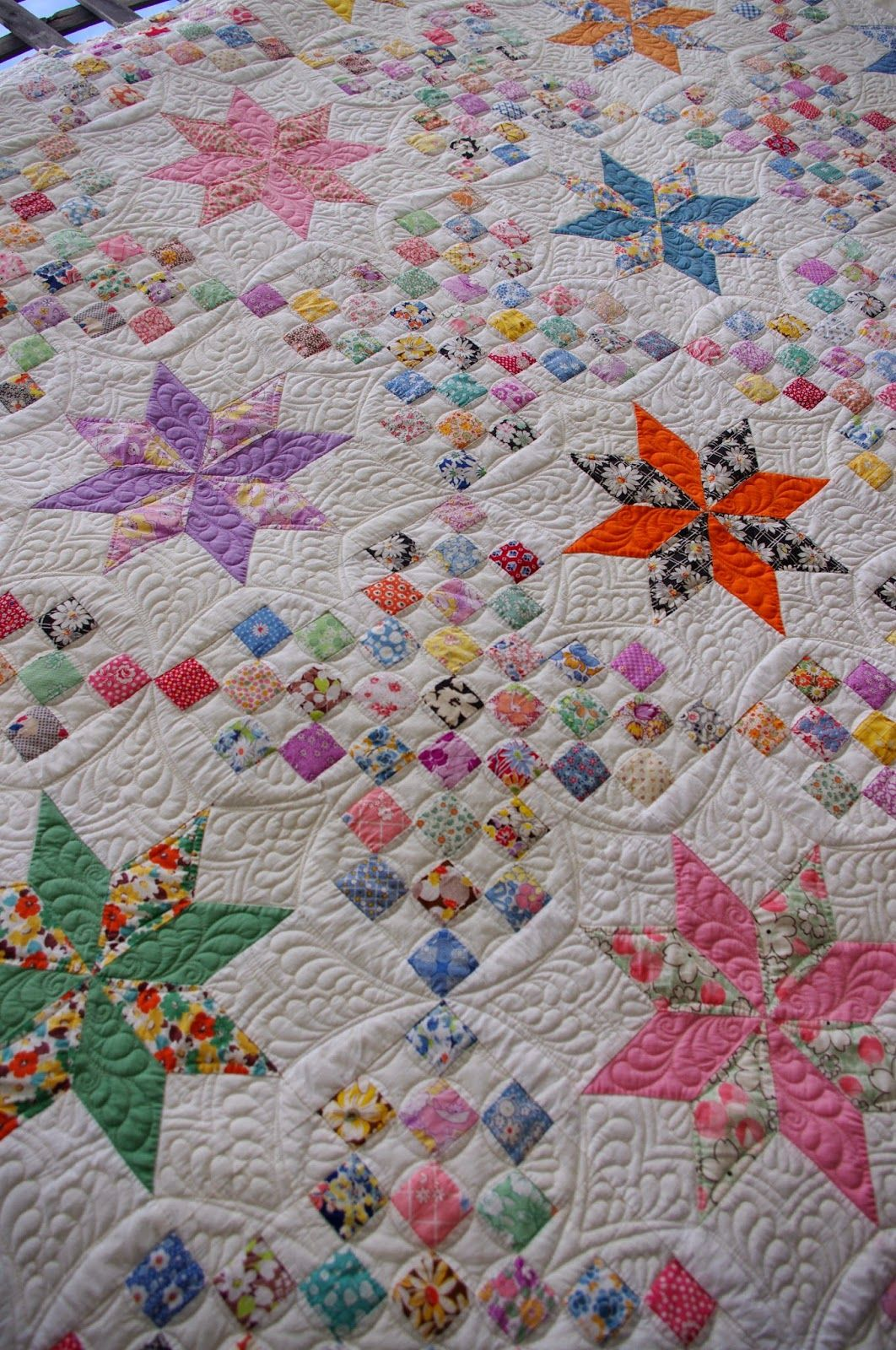 1930 S Vintage Le Moyne Star Quilt Quilted By Karen
