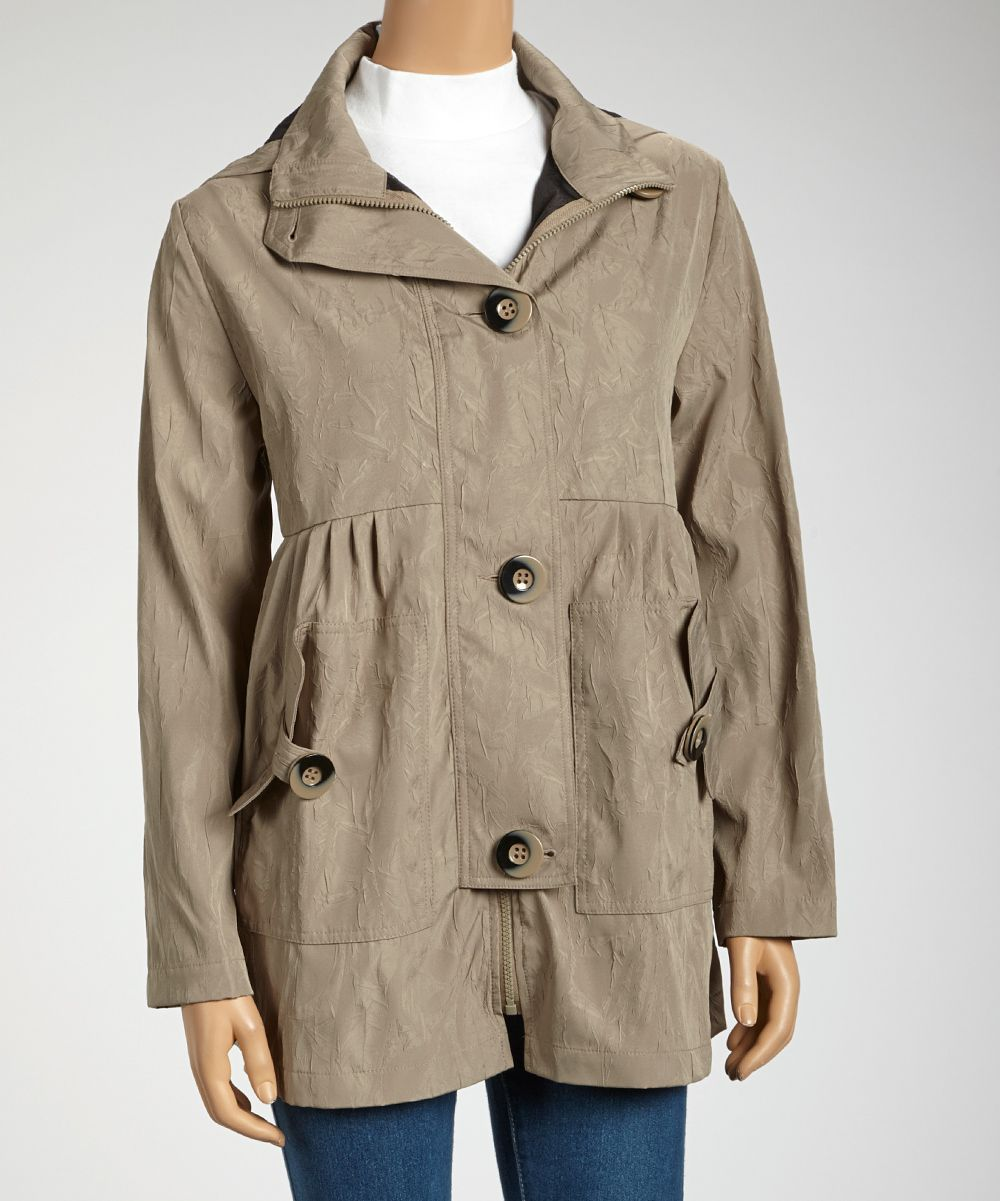 Taupe Large-Button Coat | Daily deals for moms, babies and kids