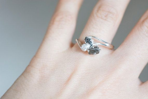 dc730ce92f325 Meteorite And Rough Uncut Natural Diamond Ring with Sterling Silver ...
