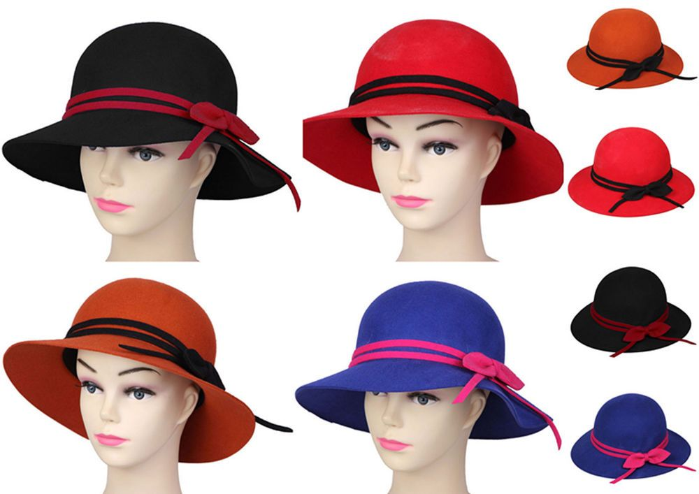 4Colors Women Lady Soft Floppy Wide Brim Cloche Bowler Hat Cap Wool Bowknot