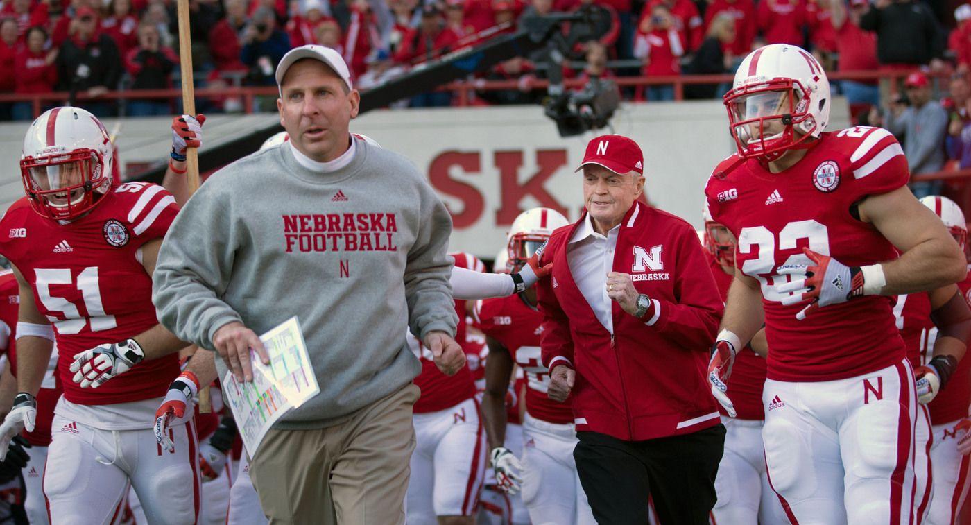 Nebraska coach Bo Pelini, left, and former coach and
