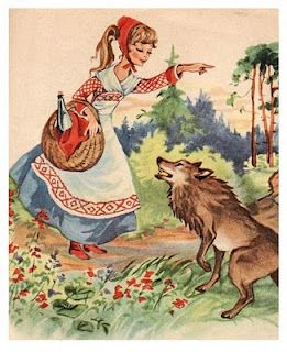 illustration, Little Red Riding Hood, fairy tale, figure, girl, pointing, 3/4 view, animal, wolf, woodland, embroidery, needlework.