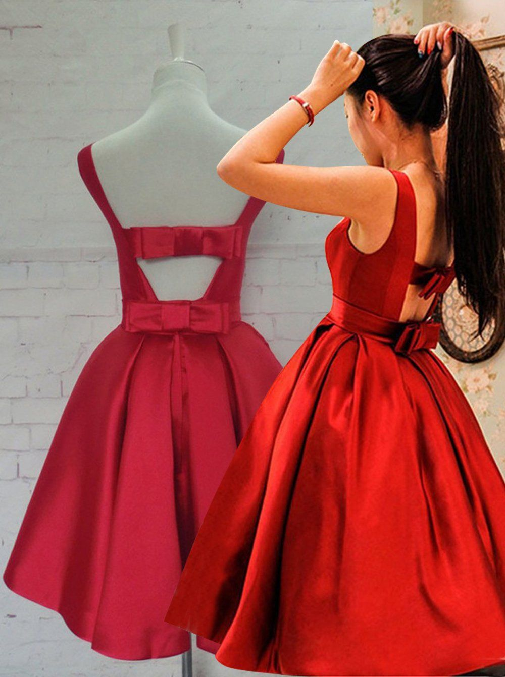 Red homecoming dressesaline homecoming dressknee length