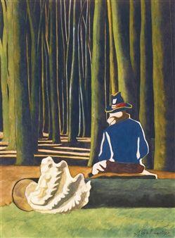 LE POÈTE DANS LA FORÊT, COQUILLAGE. LE POT DE TABAC By Leon Spilliaert ,1935