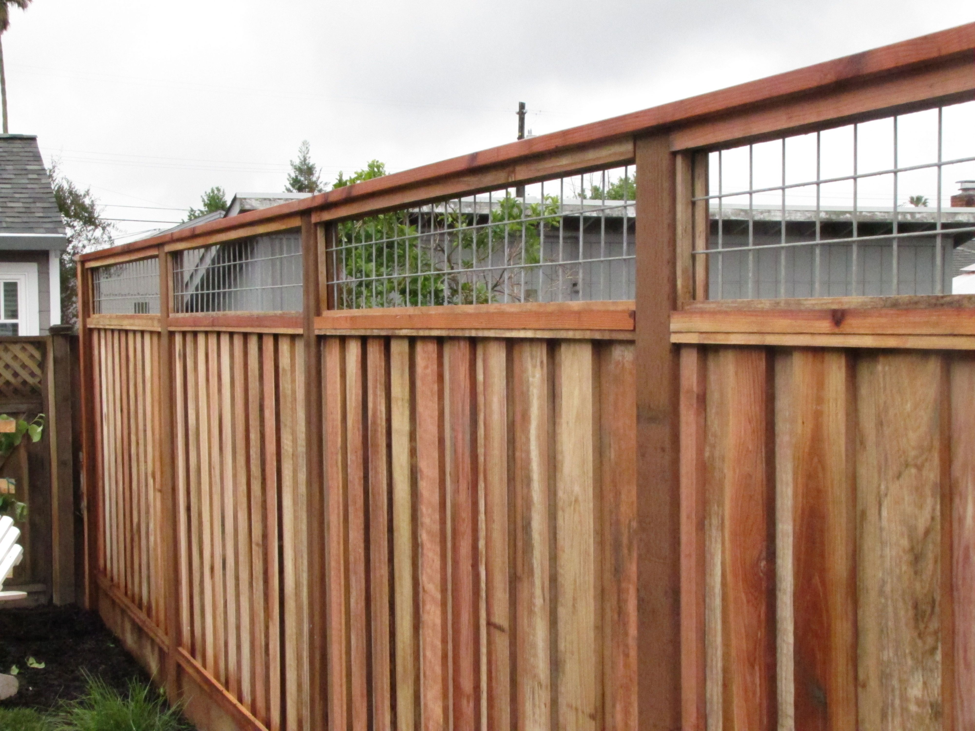 """fence with hog wire on top for blocking """"the neighbor"""" dana"""
