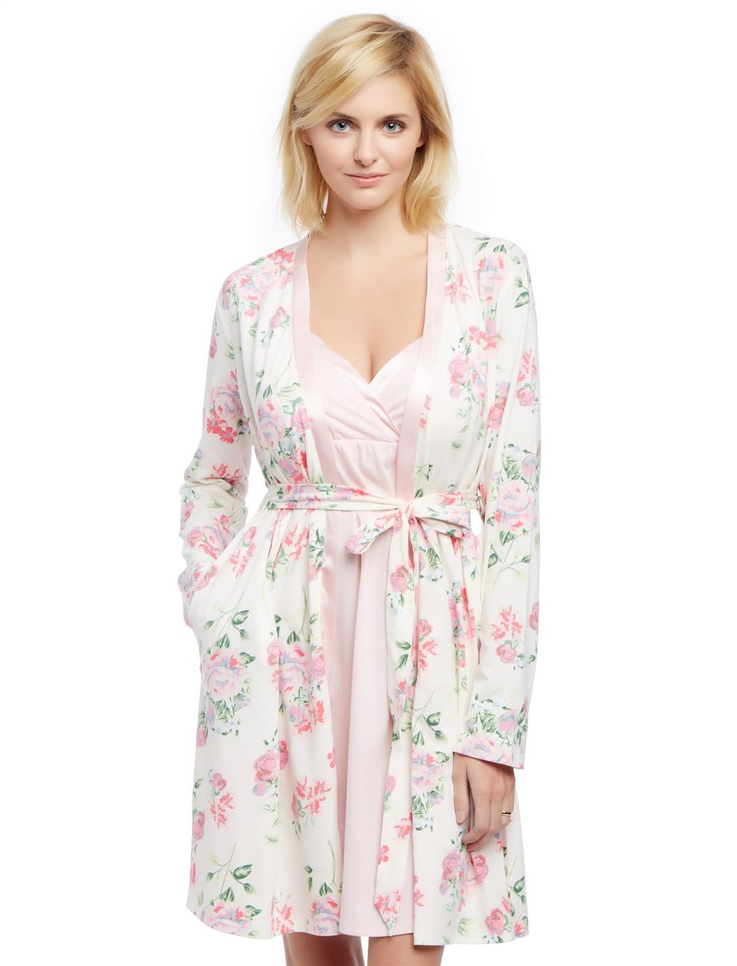 97a596592f Satin Trim Maternity Nightgown And Robe Set