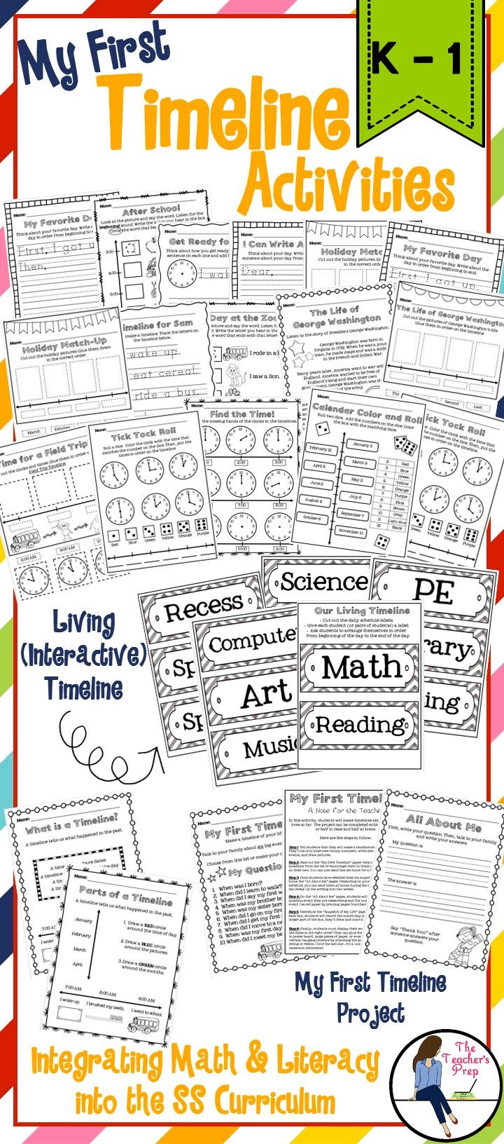 Timeline Activities For Math And Literacy Standards Back To School