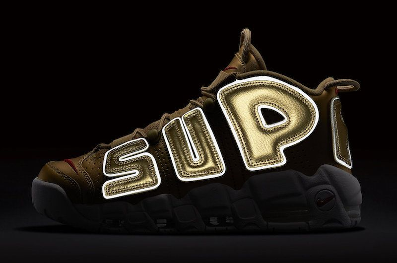 new product 43aca f38ea New Supreme x Nike Air More Uptempo Metallic Gold White 902290-700 April 29  2018