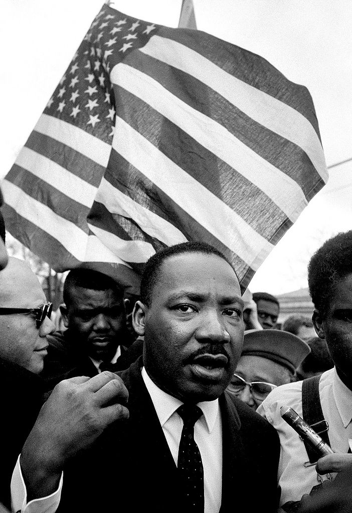 Martin Luther King during his march from Selma, Alabam, to Montgomery in 1965 as part of the American civil rights movement