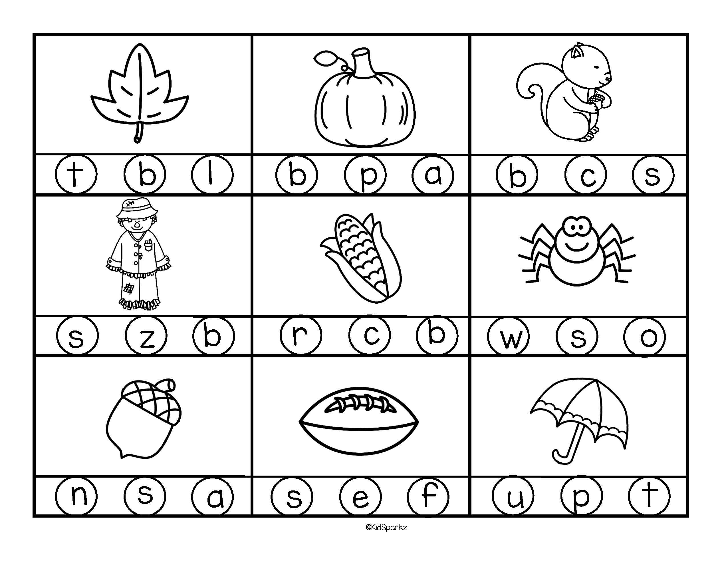 Fall Beginning Sounds Stamp Or Color In Bw Free In