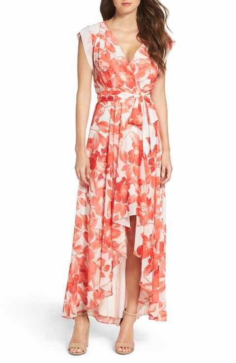 32c172ca27f Eliza J Surplice Obi High Low Dress (Regular   Petite)