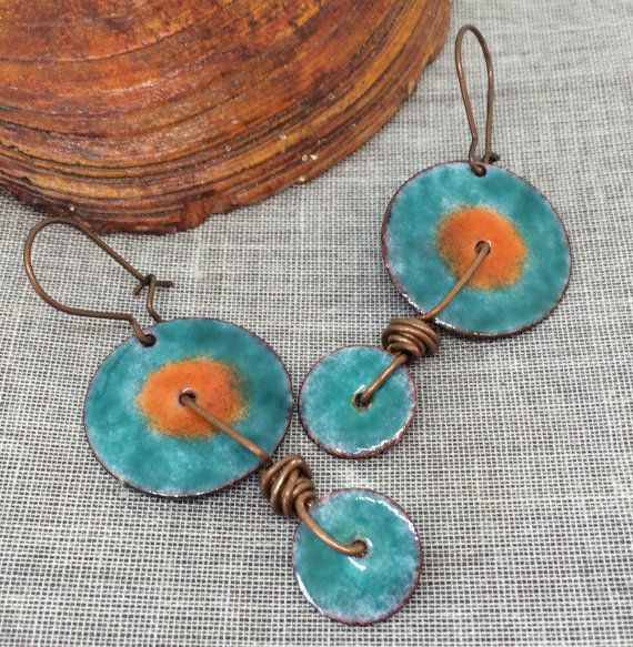 Hand Crafted Enamel House Necklace Pendant Copper Home: Hand Cut Copper Discs Have Been Hammered And Sanded, Then