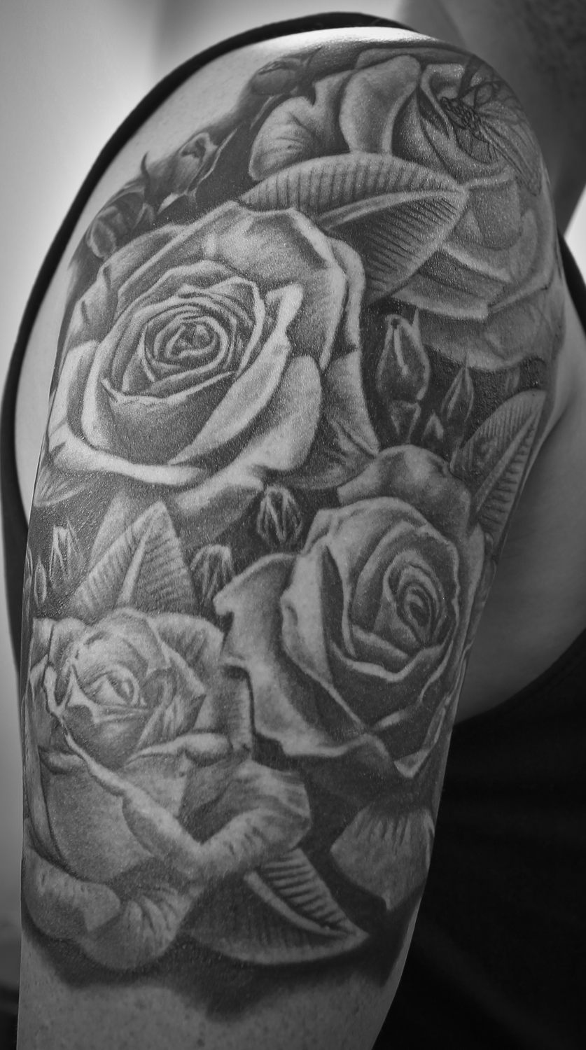 Black And Grey Rose Garden Tattoo Garden Tattoos Pink Rose Tattoos Rose Vine Tattoos