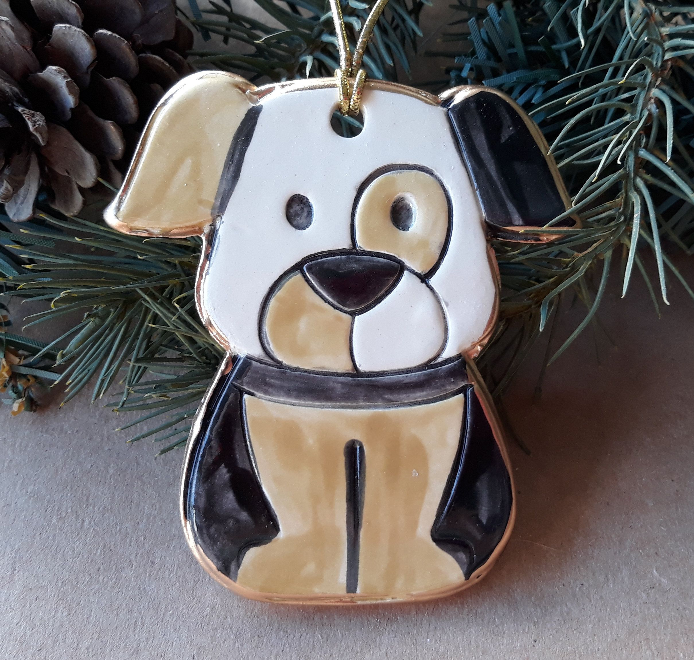 Ceramic Puppy Dog Mustard and black Christmas Ornament