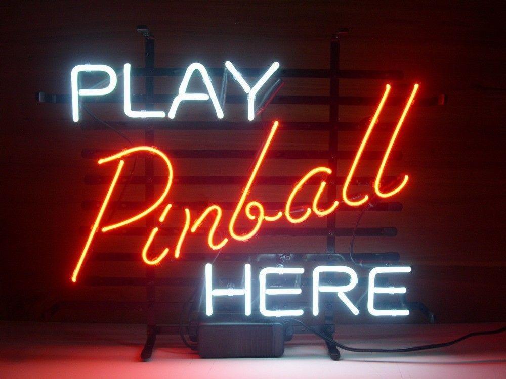 Play Pinball Here Game Room Pub Store Display Garage New