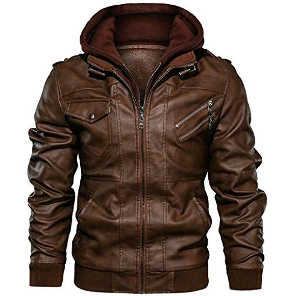 Denzell Outwear Anarchist Leather Jacket Hooded Mens Real