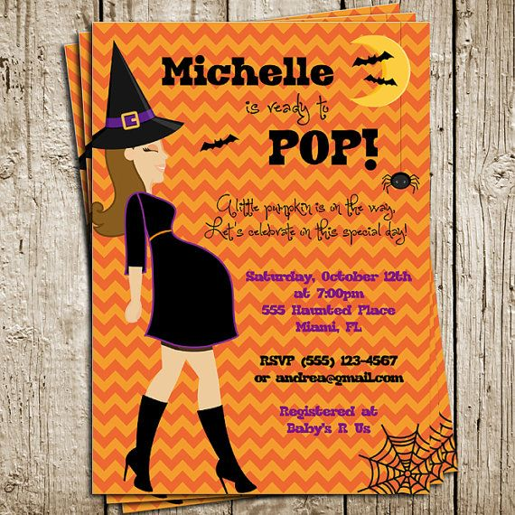 Halloween Baby Shower Digital Printable Invitation Baby Shower - Halloween baby shower invitations