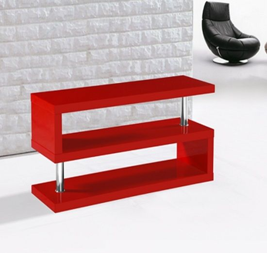 Miami Tv Stand Shelving In High Gloss Red Muebles Para Pantallas