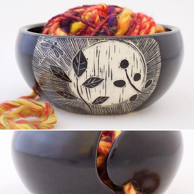 Etched yarn bowl handmade in California! Patricia Griffin makes these in her studio and also sells online.You can see more at PatriciaGriffinCeramics.com