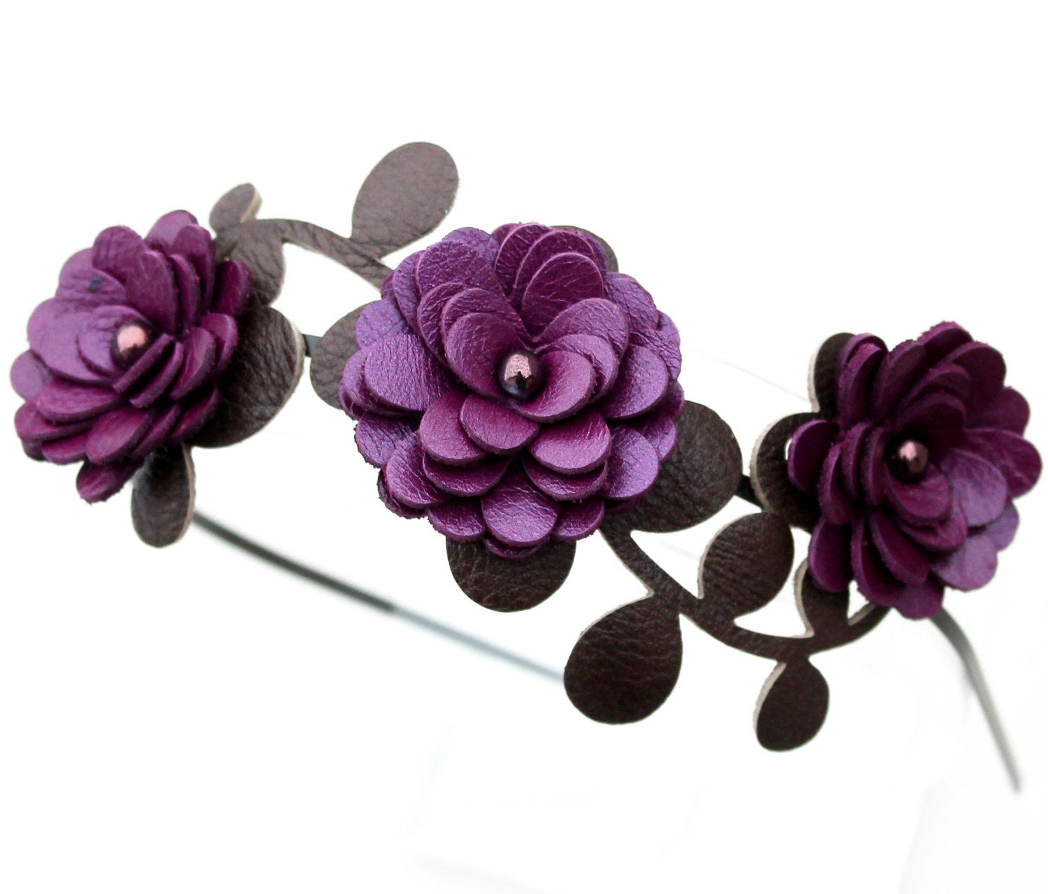 Purple Flower Headband Leather Amethyst Mums Green Leaves Floral