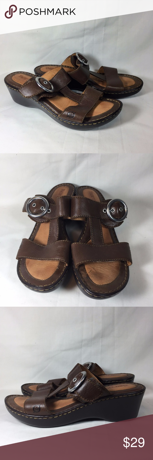0310905209 BOC Born Concept Low Heel Sandals Slip On Brown BOC Born Concept sandals, low  heel, slip on, mule style Size 9 Excellent gently used condition Born Shoes  ...