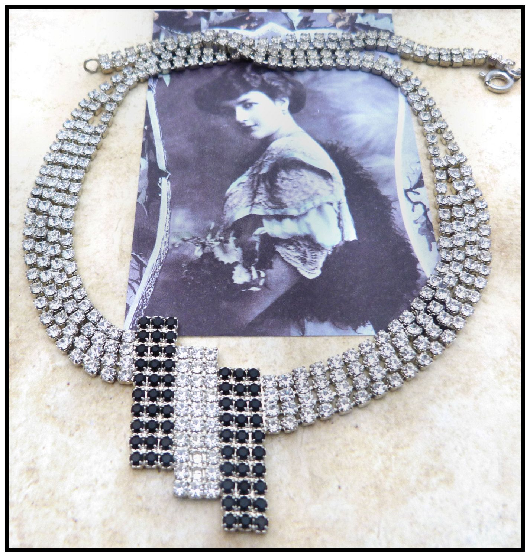 Black White diamente geometric necklace art deco art noveau victorian flapper 1950's vintage bib necklace by PsychedelicSeaweed on Etsy