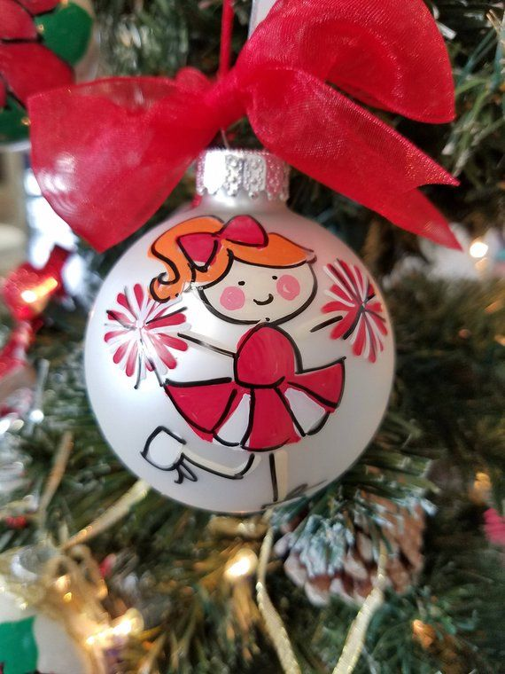 Personalized Christmas Balls.Personalized Hand Painted Glass Christmas Ornament Cheer
