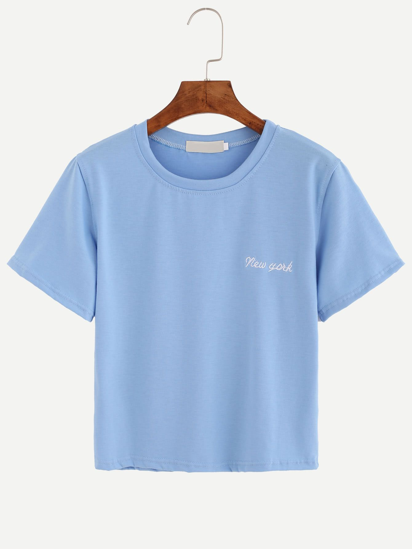 Shop Blue Letter Embroidered T-shirt online. SheIn offers Blue Letter Embroidered T-shirt & more to fit your fashionable needs.