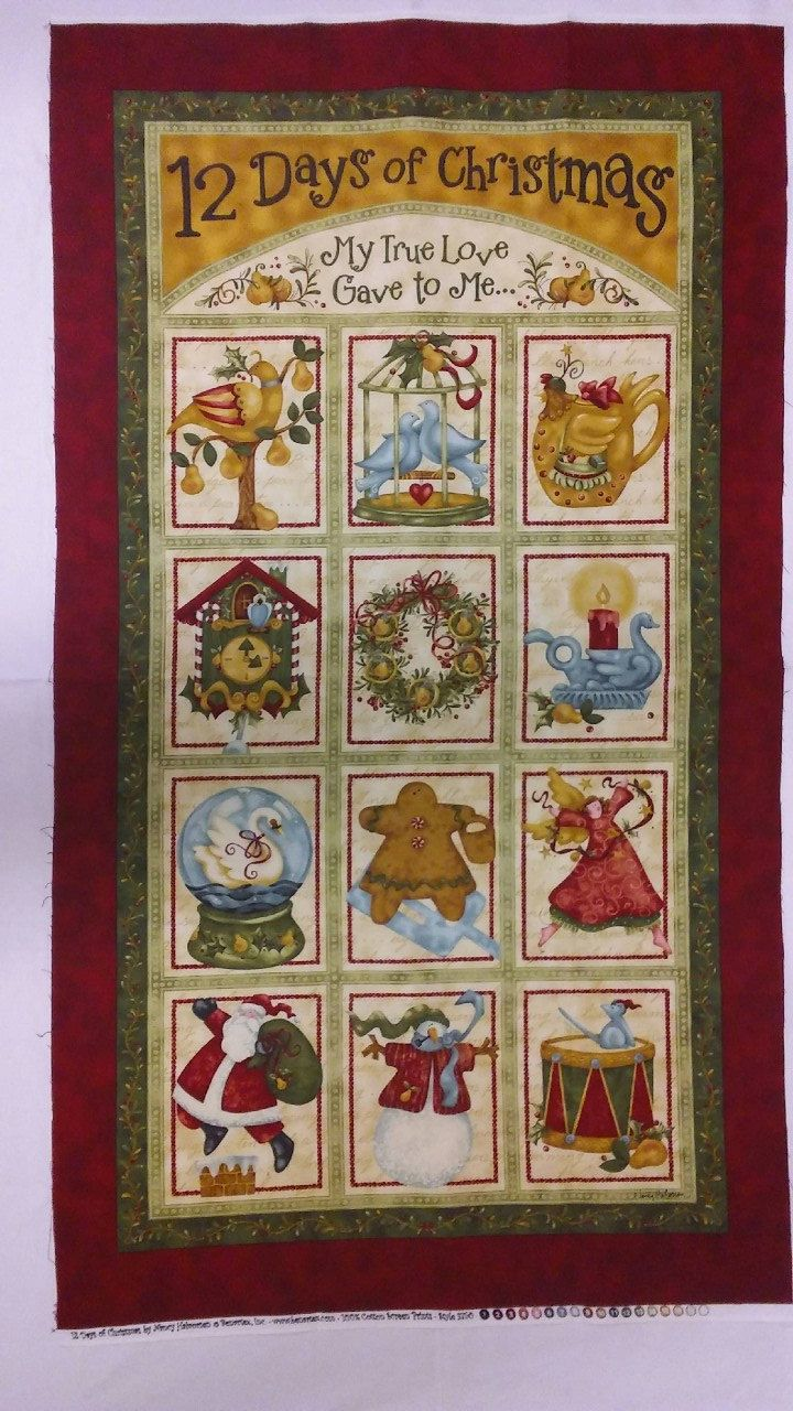 In A Pear Tree Quilt Kit 12 Days Of Christmas Art To Heart Pattern My True Love Gave To Me Nancy Halvorsen P Christmas Fabric Panels Quilt Kits Quilt Kit
