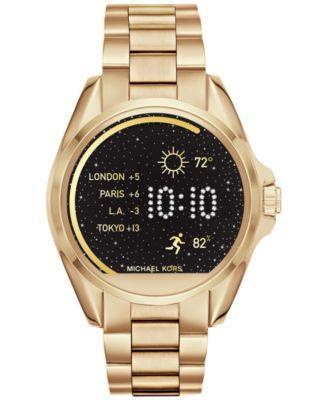 f11e811c7f631 Michael Kors Access Unisex Digital Bradshaw Gold-Tone Stainless Steel  Bracelet Smartwatch 45mm MKT5001