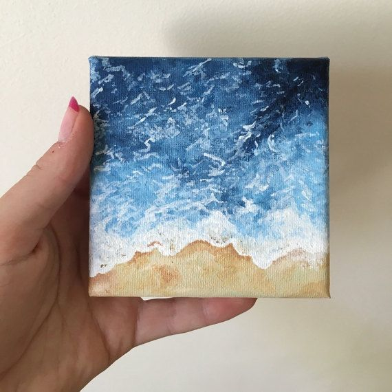 Wave Painting Acrylic Small Canvas By Wnkthe