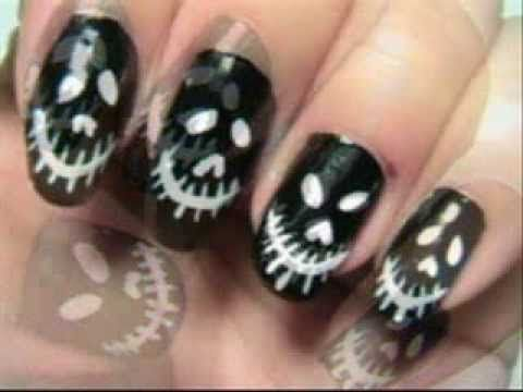scary face halloween nails easy black and white nails