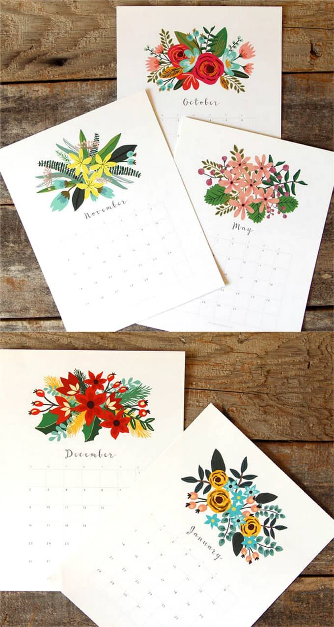 Beautiful Floral 2018 Calendar & Monthly Planner Printables