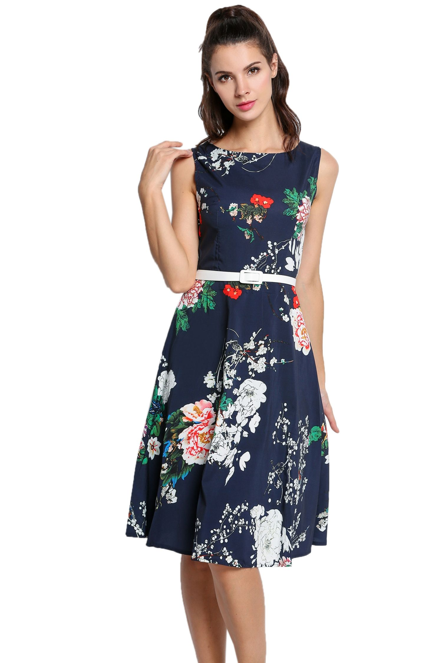 Dark blue Floral with Women Dresses