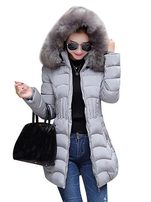 Daunenjacke Steepjacke Winter Parka Damen Wintermantel Winterjacke Strickjacke Frauen Kapuzenmantel Outwear Winter Warme Kapuzenpullover Pelzkragen