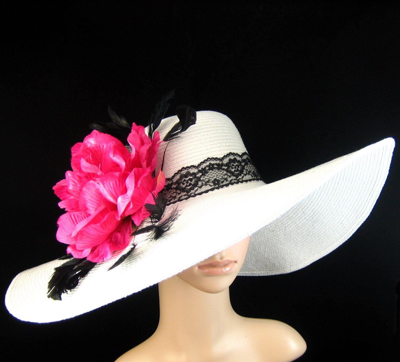 WHITE Kentucky Derby Hat Derby Hat Wedding Hat Dress Hat Church Hat Wide  Brim Tea Party Ascot with dark rose pink flower  defec50aca66
