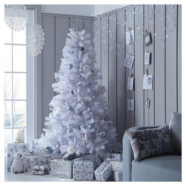 Tesco Direct 6ft White Alaskan Christmas Tree White Christmas Tree Decorations Christmas House Lights Christmas Room Decor