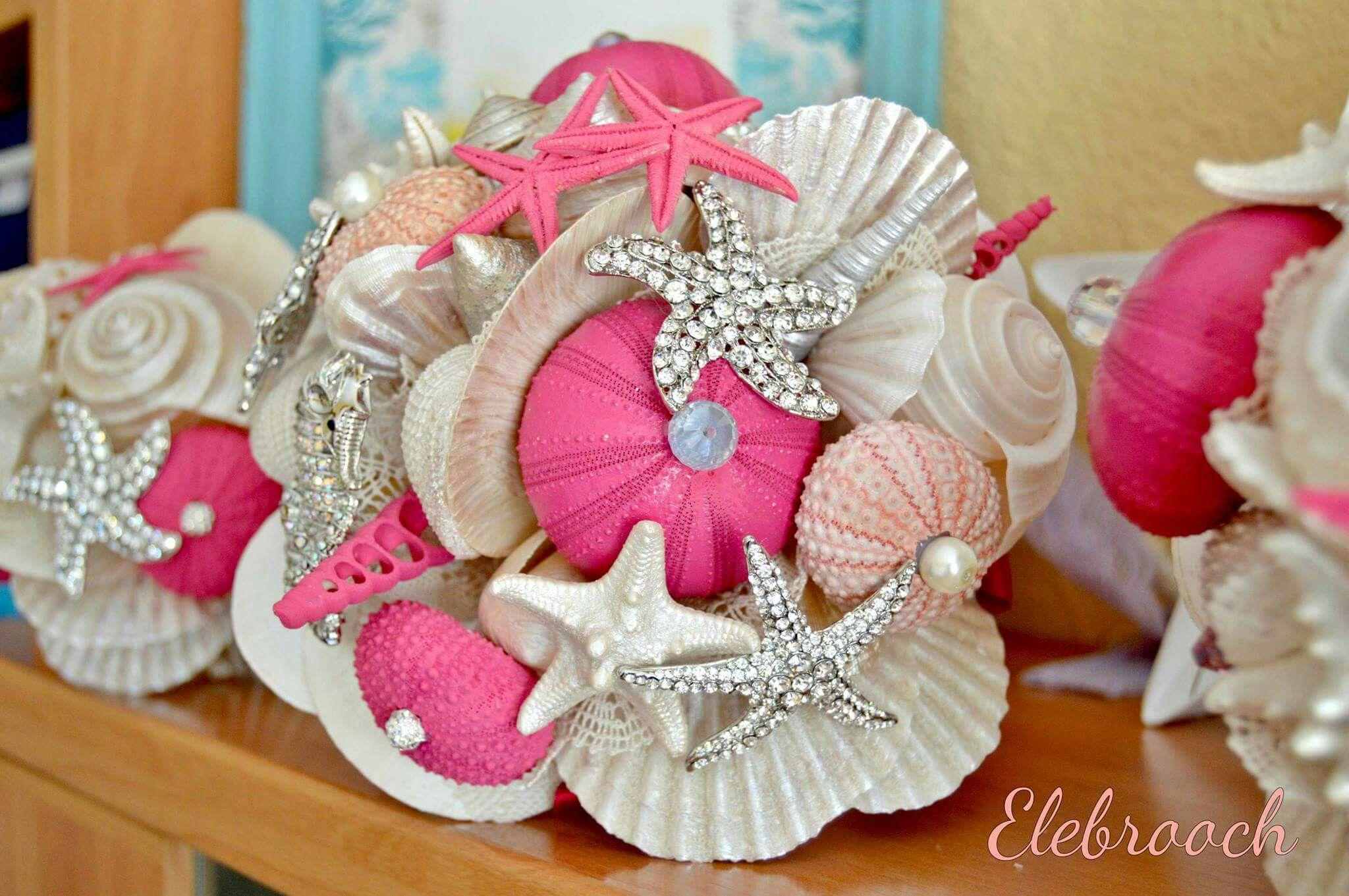 Ramo, bouquet, mar, conchas fucsia, boda, playa, sea, wedding ...