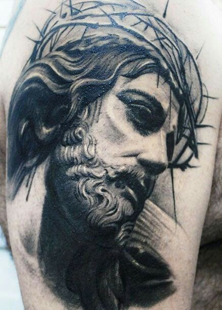 99eac342897be Jesus tattoo crown of thorns | tattoo ideas | Christ tattoo ...