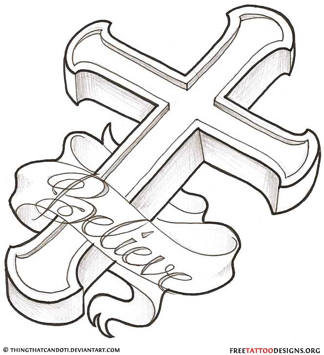 Cross Tattoo Line Drawing : Cross tattoos tattoo designs of holy christian
