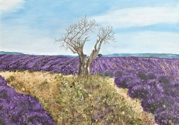 Acrylbild Lavendel Feld 4 Provence Malerei Leinwand Gross 70x50x4