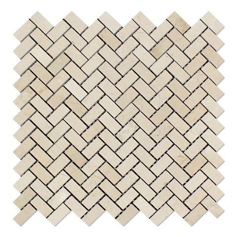 Crema Marfil Marble Polished Mini Herringbone Mosaic Tile Shower Gorgeous Tin Ceiling Tiles For Backsplash Exterior