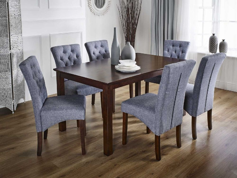 Lisbon Modern Rectangular Dark Oak Coloured Solid Wood Dining Table With A Choice Of Either 6 Grey Or Beige Fabric Cha Oak Dining Table Dining Table Solid Wood Dining Set