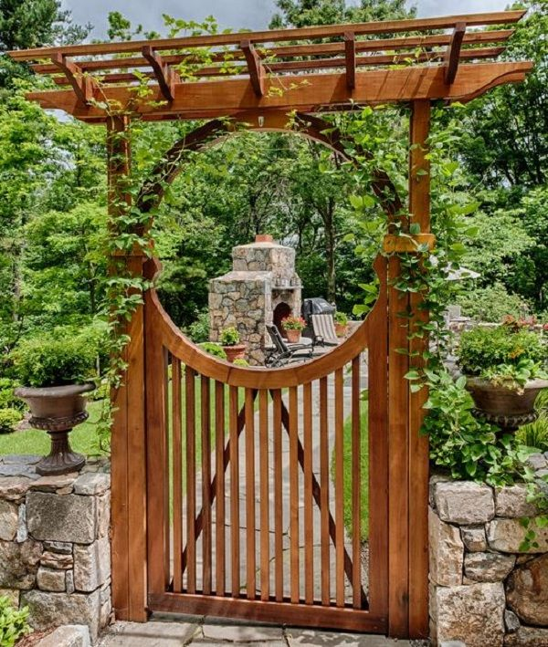 Half Moon Gate Wooden Moongate To An Outdoor Kitchen