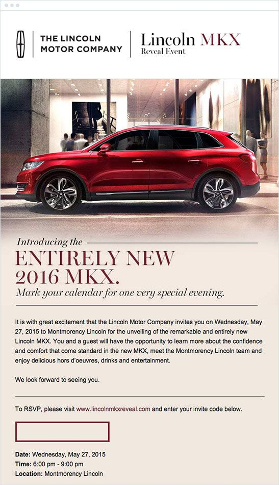 The best email marketing campaigns of 2015 lincoln motor for The lincoln motor company