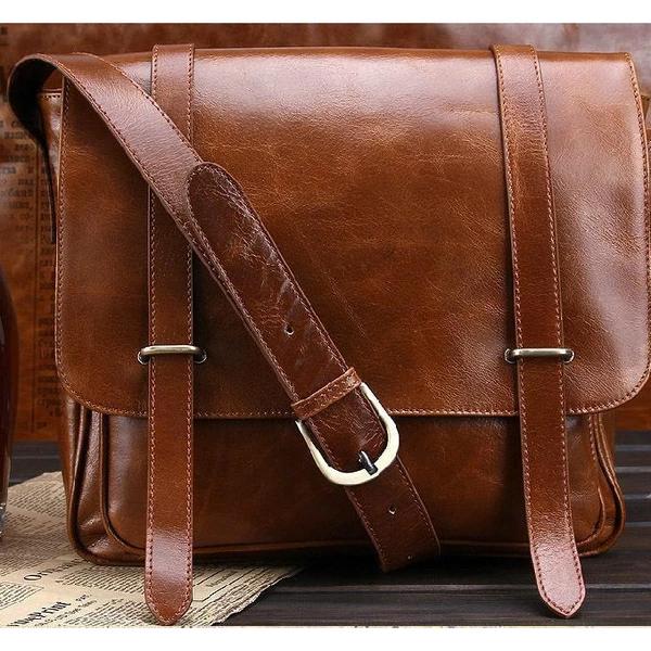 Men/'s Soft Leather Messenger Bag Shoulder Crossbody Business Handbag Briefcase